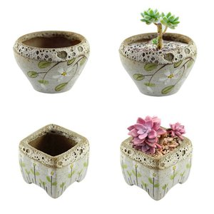 Hand painted flowers retro triangle flower pots ceramic pots simple ideas stoneware green meat meat plants flower pots|Flower Pots & Planters| |  -