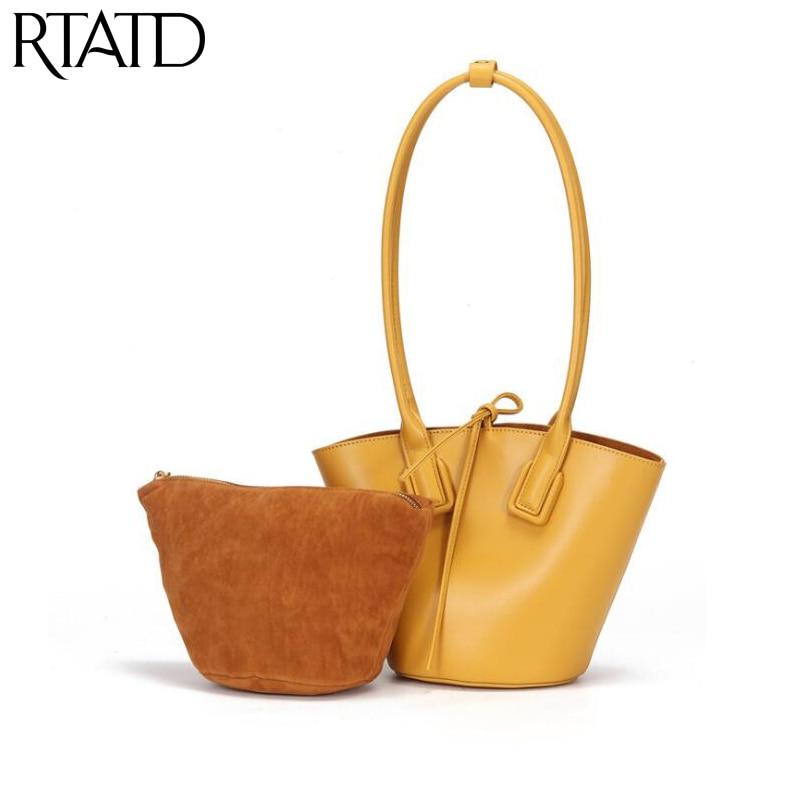 Luxury Brand Design Women Genuine Leather Bucket Bag Vintage Handbag For Ladies Shoulder Crossbody Bags