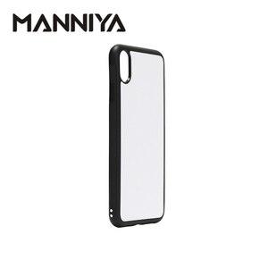 Image 3 - Manniya 2d sublimação em branco borracha caixa do telefone para iphone xs max com inserções de alumínio e cola 10 pçs/lote