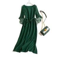 Long Silk Women Dress Female 100% Natural Silk With Belt Dress Maxi Solid Ruffle Sleeve Dresses 2020 Spring Boho XGH1928 es