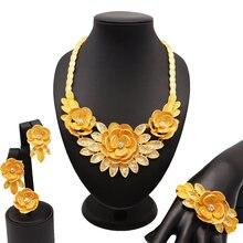 Свадебные ювелирные наборы высокое качество золотой цвет женский