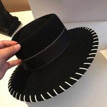 Женская модная зимняя шляпа из чистой шерсти с широкими полями, фетровая шерстяная фетровая шляпа, шляпа-канотье, вечерние шляпы в церковном стиле, кепка в стиле дерби