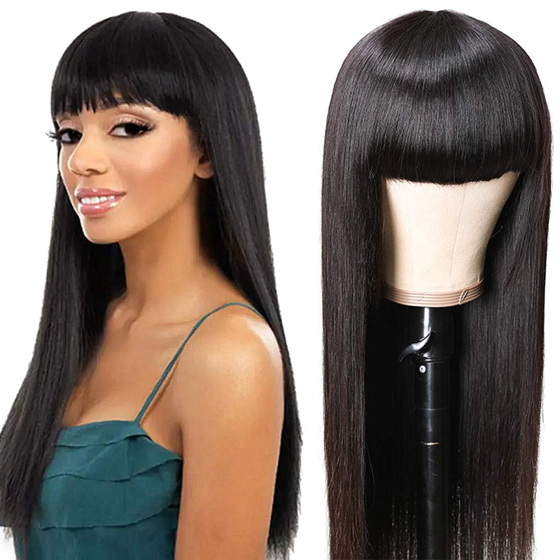 150% Brazilian Virgin Straight Human Hair Wigs With Bangs Pre Plucked For Women 28 Inch 250 Density None Lace Front Wig