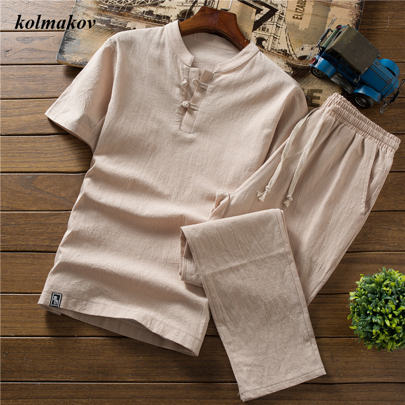 (Shirt + trousers) New Arrival Summer Style Men Cotton and Linen Shirts High Quality Fashion Casual Solid Men's Shirts M-5XL