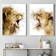 Абстрактные животные Тигр Лев скандинавский постер настенное