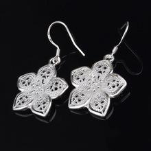 Vintage silver plated filled beautiful flower earrings hot selling fashion Ethnic jewelry Free shipping Christmas gifts