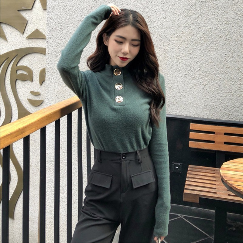 Women Spring Autumn Solid Color Basic Sweater Female Fashion Button Decoration  Casual Turtleneck Long Sleeve Sweaters