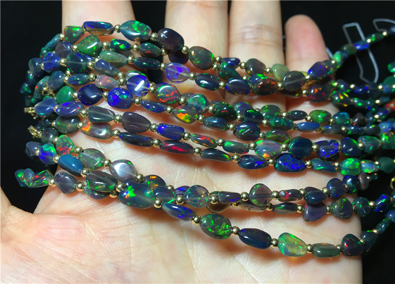 Loose Beads  Nature Black Fire Opal Baroque  Rainbow 3-5mm 19cm FPPJ Wholesale Beads Nature