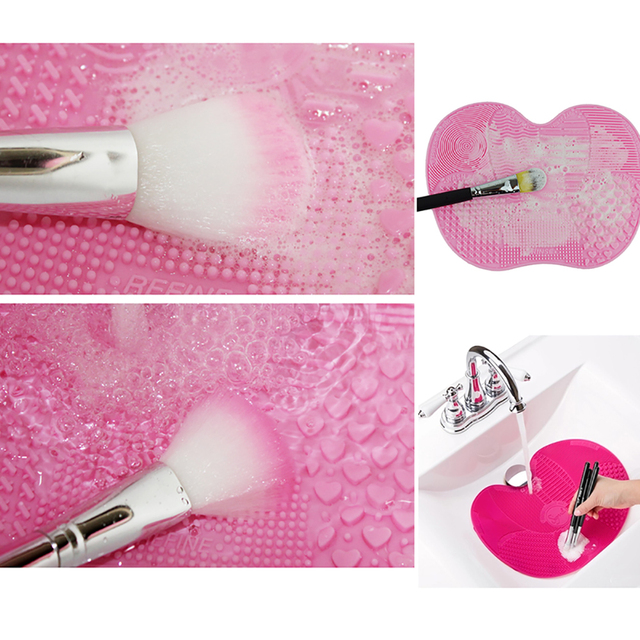 Silicone Makeup Brush Cleaning Pad Brush Cleaner Mat Cosmetic Make Up Brushes Washing Scrubber Board Tool make up set Щетка мат 2