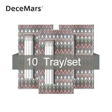 DeceMars 10Cases/lot Long Stem Pre Made Volume fans lashes 3D 10D lashes Russian Volume Eyelash Extensions Pre made lash