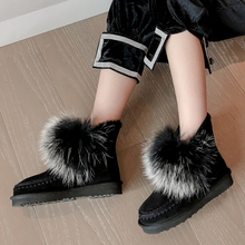 Snow-Boots Fluffy-Shoes Girls Winter Women Ankle Wool for Femmes Bottes Chaussure Sweet-Style