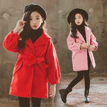 Fashion Girls Wool Long Coats with a Belt Teen Winter Coat Belted Quilted Bee Pattern Clothing For Kids Trench Coat Belt Buckles