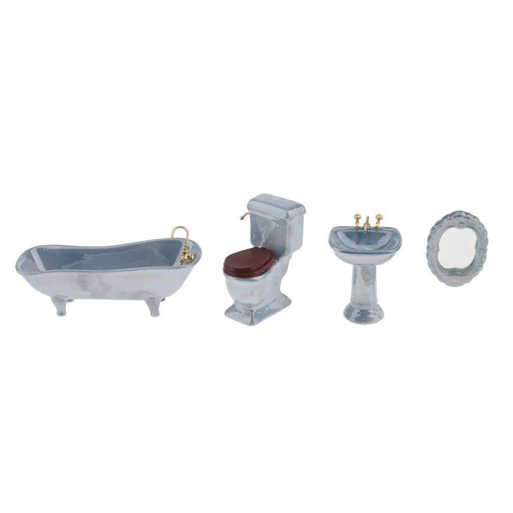 Mini Ceramic Bathroom Footed Bath Tub ToiletPedestal Sink & Mirror Set Blue