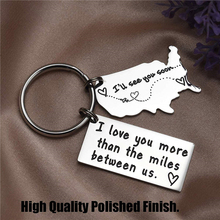 I Love You More Than The Miles Between Us Stainless Steel Keychain Couple Lovers Relationship Boyfriend Girlfriend Gift Keyring the light between us