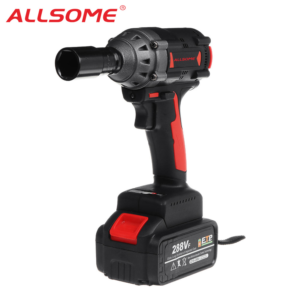 ALLSOME 288VF 600NM Max Brushless Impact Wrench Li ion Battery Brushless Motor Electric Wrench Power Tool With Charger Sleeve|  - title=