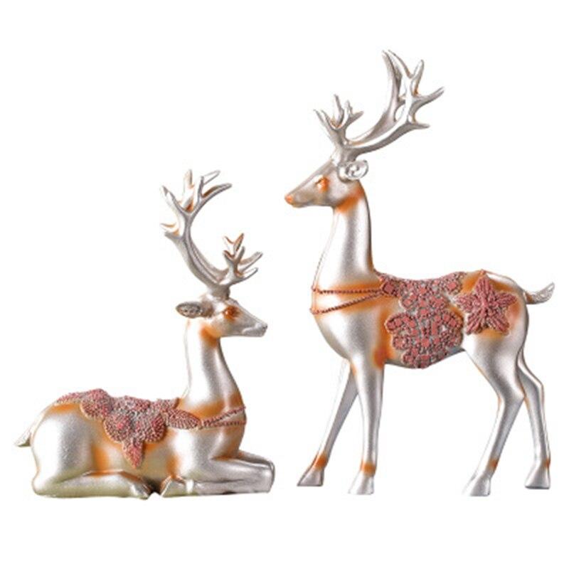 Couple Elk accessoires de décoration de la maison Elk européen mémorial jour cadeau salon Vintage peint à la main élégant Art décor à la maison