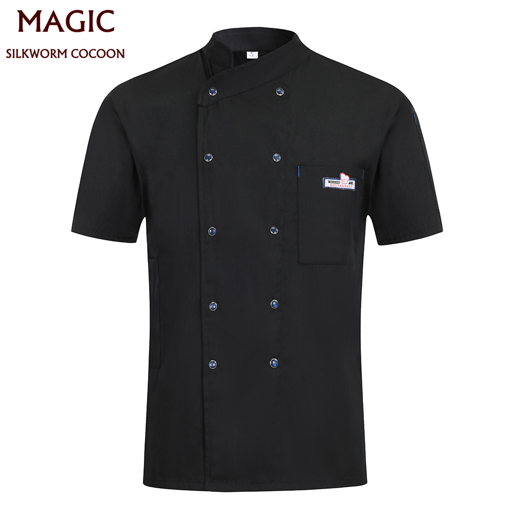 New Chef Uniform For Unisex Tops Short Sleeve Kitchen Workwear Waiter Waitress Clothes Catering Hotel Restaurant Overalls Apron