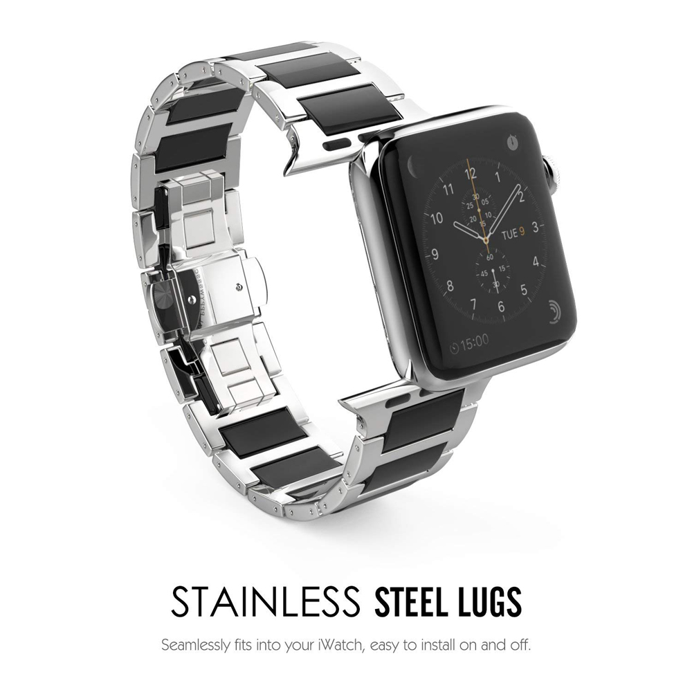 Stainless Steel Strap For Apple watch band 44mm 40mm 42mm 38mm iWatch band 5 4 3 2 Ceramic wrist bands Link Bracelet belt correa