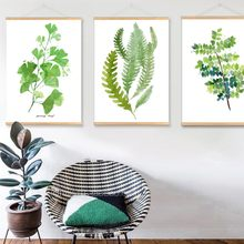 Nordic Poster Fresh Green Plants Wall Art Canvas Prints with Wooden Scroll Hanger Stranger Things Framework Home Decoration(China)