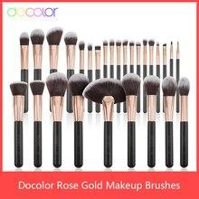 Docolor – Ensemble de pinceaux de maquillage en poils synthétiques, brosse professionnelle pour fond de tein, ombre à paupières et blush, de couleur dorée rose