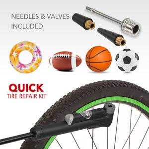 Image 2 - Mini Bike Pump Bicycle Pump High Pressure Air Pump Built in Pressure Gauge Puncture Repair Kit Fits for Presta Schrader Valve