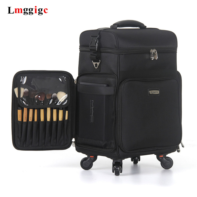 Trolley Cosmetic Box,Oxford Cloth Luggage,Multi-function Makeup And Makeup Beauty Trolley Case,Large-capacity Beauty Suitcase