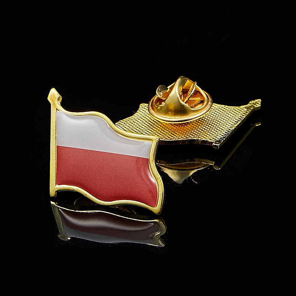 Polen Epoxy Nationale Vlag Vergulde Revers Pin Badge Broche