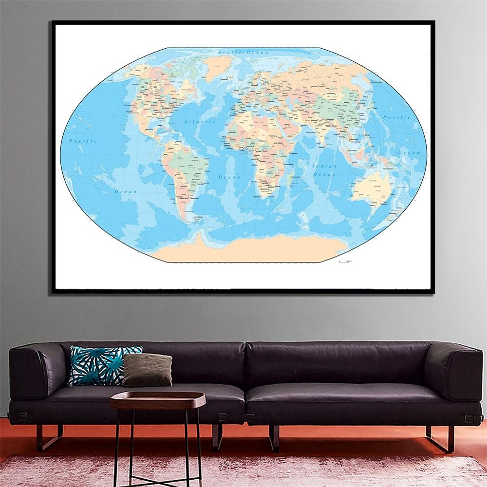 2x3ft Fine Canvas Wall Painting The World Projection Map For Office/School Wall Decor