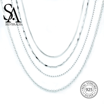 SA SILVERAGE S925 Silver Necklace 16/18 Inch S925 Sterling Silver Accessory Chain Matching sa silverage silver set 925 black stone star necklace and earrings set for female women pure silver jewelry s925 birthday gift