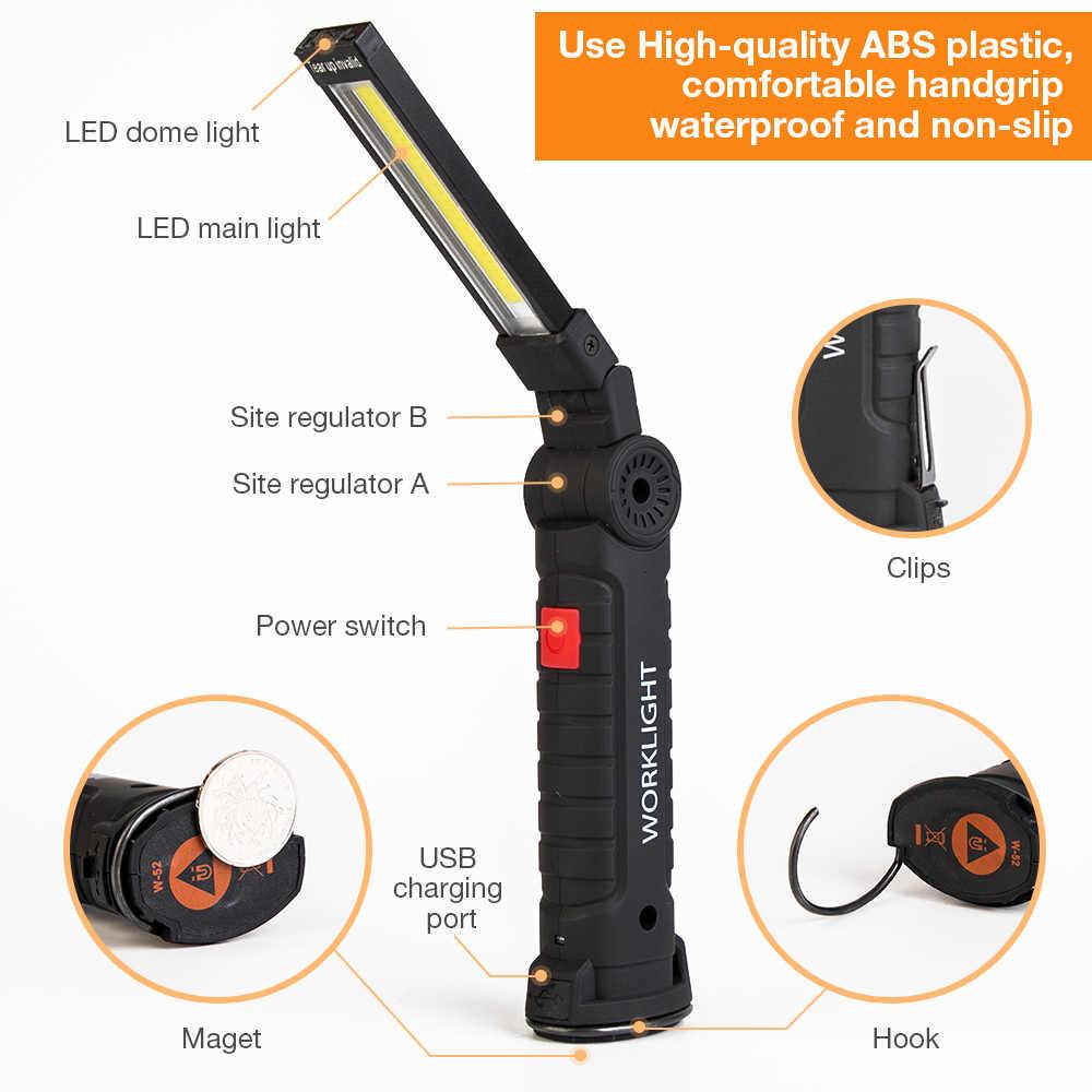 Led trabalho barra de luz lâmpada do carro recarregável magnético cob 5 modo tocha handheld lâmpada inspeção sem fio worklight ferramenta multifunções