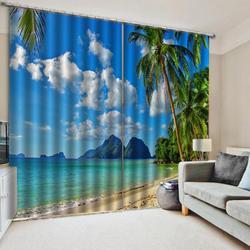 Niestandardowe 3D Summer Beach Windows zasłony niebieska woda morska cienka do salonu sypialnia dekoracyjne zasłony kuchenne zasłony
