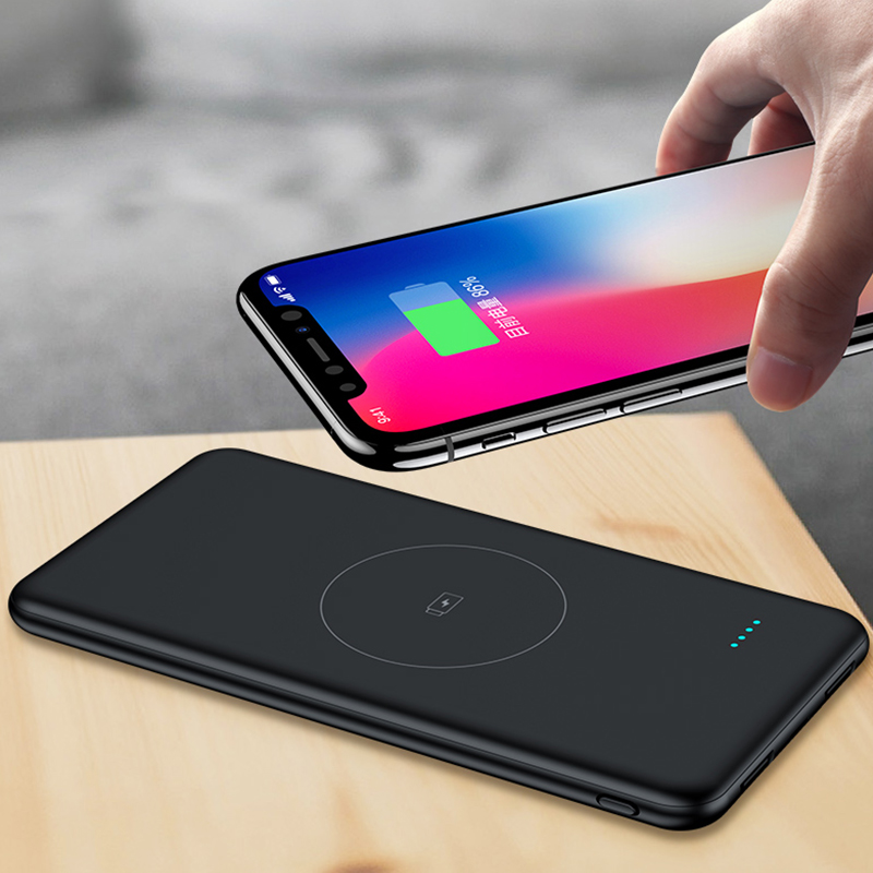 Qi <font><b>Wireless</b></font> Charger Slim <font><b>Power</b></font> <font><b>Bank</b></font> <font><b>10000mAh</b></font> For <font><b>Xiaomi</b></font> <font><b>Mi</b></font> iPhone Portable Fast Charging Powerbank External Battery Poverbank image