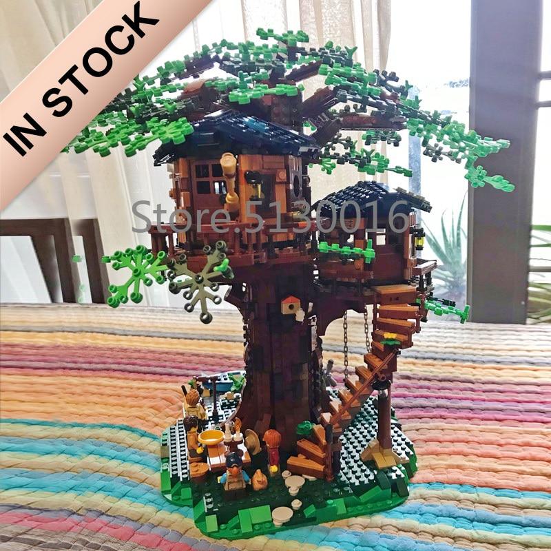 En stock 21318 nouvelle maison d'arbre les plus grandes idées modèle 3000 + Pcs blocs de construction briques enfants jouets éducatifs cadeaux