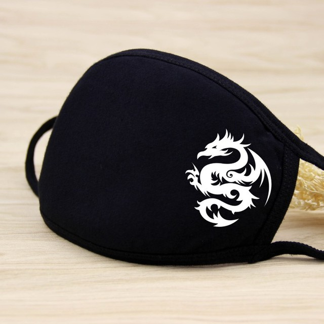 Fashion Anime Face Masks Black Cotton Reusable Mouth Mask Washable Mouth Cover Cute Carton Muffle For Men Women 1