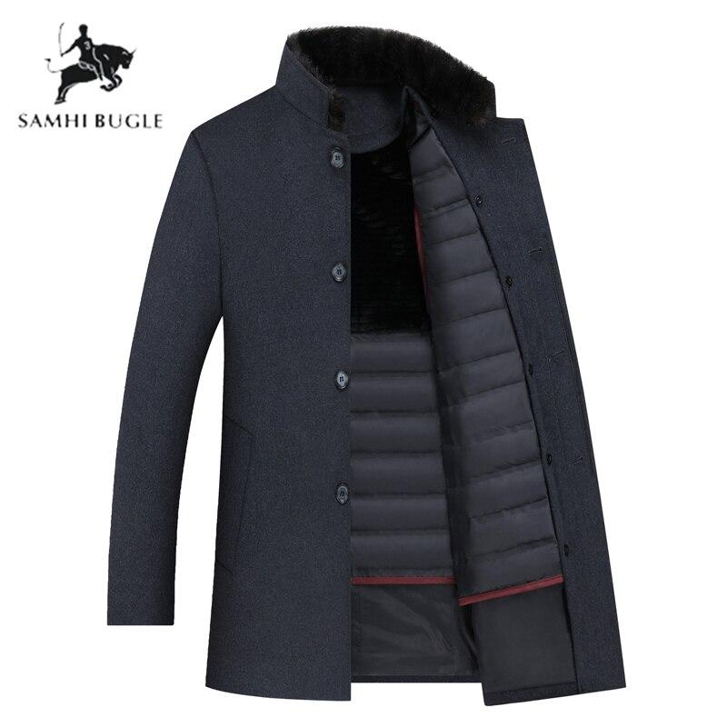 Gabardina de lana SAMHI BUGLE para hombre, chaquetas de lana de plumón de pato blanco de 90% para hombre, abrigo de lana para hombre, abrigo para hombre de talla grande M XXXL 8866 - 2