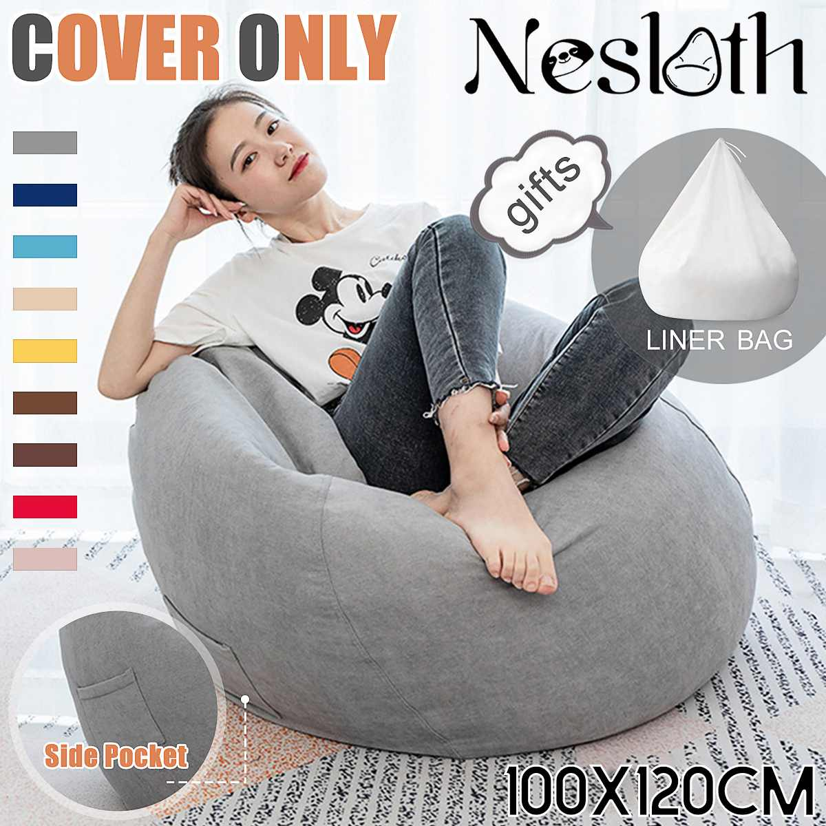 2Pcs Large Lazy BeanBag Sofas Cover+Inner Liner Without Filler Velvet Lounger Seat Bean Bag Pouf Puff Couch Tatami Living Room