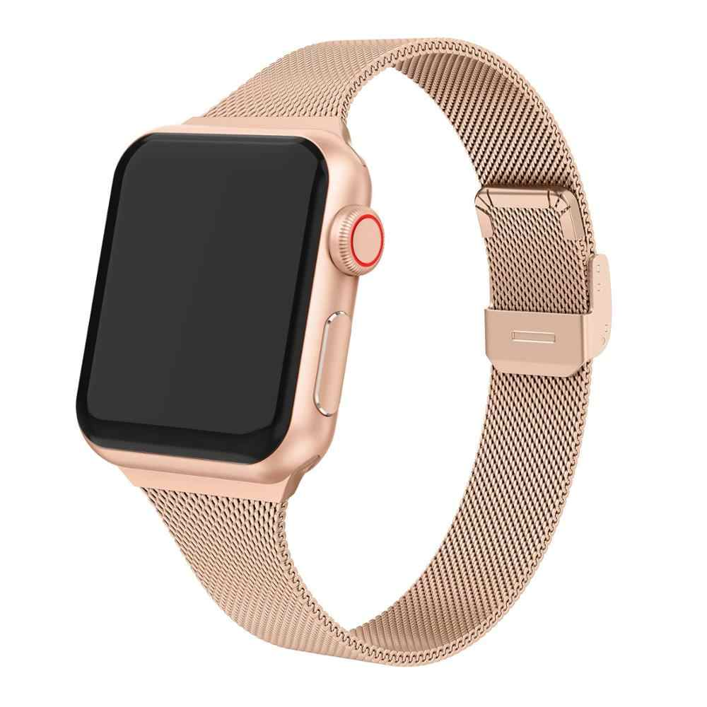 Kayış milanese döngü apple saat bandı 44mm 40mm paslanmaz çelik metal bilezik correa Apple iphone 5 4 3 iwatch bileklik 42mm 38mm