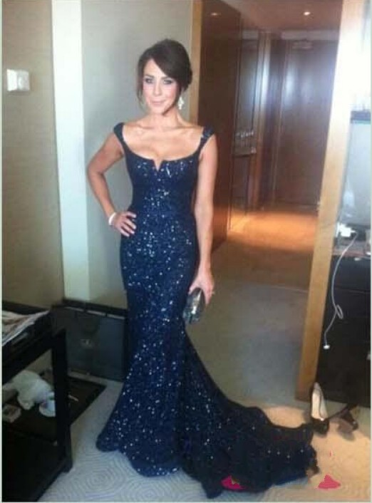 2018 Gorgeous Navy Blue Lace Sequins Mermaid Prom Sexy Spaghetti Backless Women Long Evening Gowns Mother Of The Bride Dresses