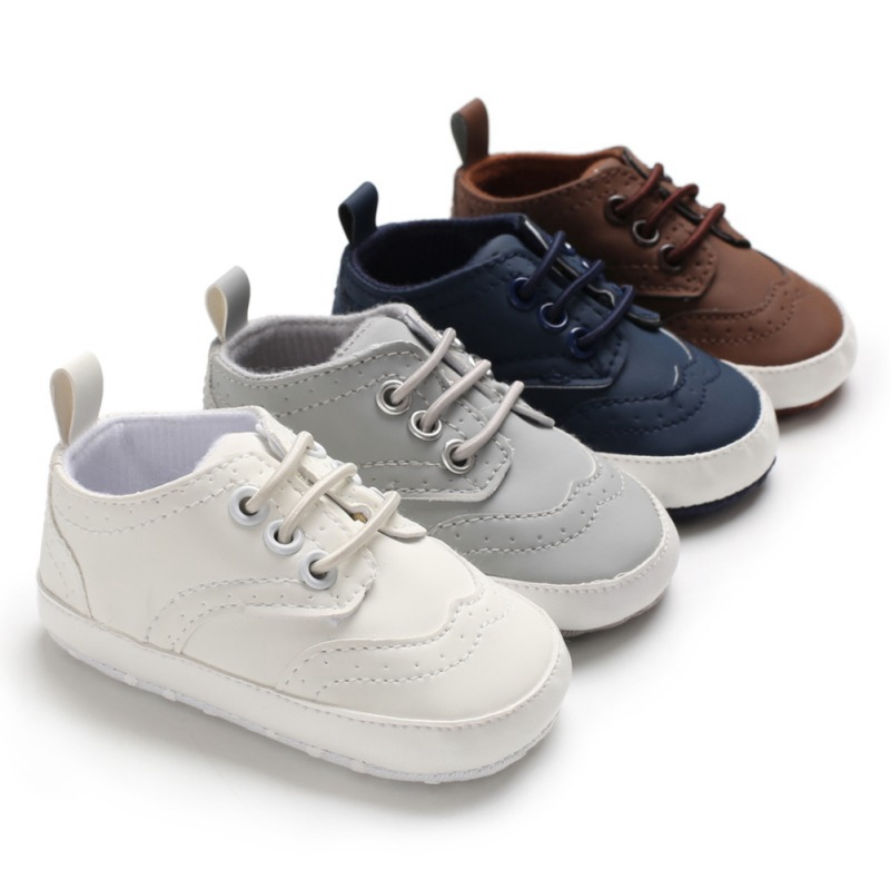Spring Baby Boys Classic Shoes PU Leather First Walkers Lace-Up Prewalkers Soft Anti-slip Sports Sneakers Casual Shoes