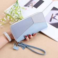 2019 Fashion Ladies Wallet Stitching Wallet Black Blue Long Paragraph Clutch Bag Purse Soft PU Leather Card Package(China)