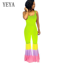 YEYA High Quality Women Sexy Sleeveless Hollow Out Long Rompers Elegant Patchwork Bodycon Playsuits Summer Casual Retro Jumpsuit