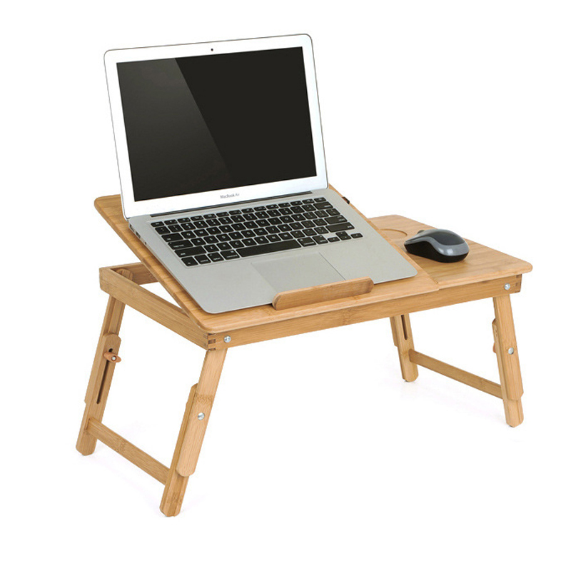 Portable Folding Bamboo Laptop Table Sofa Bed Office Desk With Fan Bed Table For Computer Books Laptop Stand  Draft