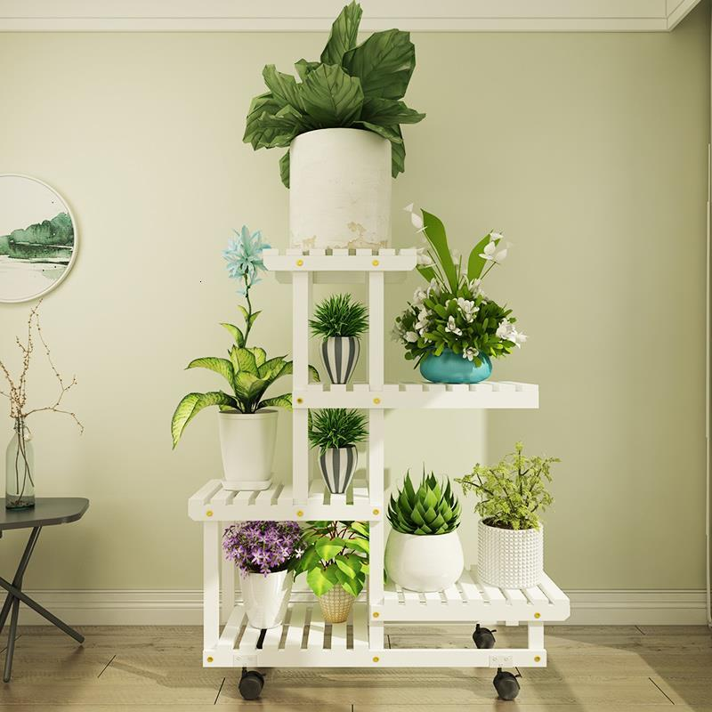 Interior Wood Etagere Plante Estanteria Para Macetas Indoor Pot Stand Varanda Rack Stojak Na Kwiaty Balcony Flower Plant Shelf