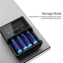 New 4-Way VC4S Battery Charger With USB Cable 3.7V Li-ion QC3.0 Fast Charging Batteris Parts for AAA/AA 14650/17500/18350/18650