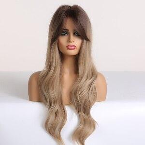 Image 2 - ALAN EATON Long Ombre 갈색 금발 여성용 가발 Bangs Water Wave 내열성 합성 가발 아프리카 계 미국인