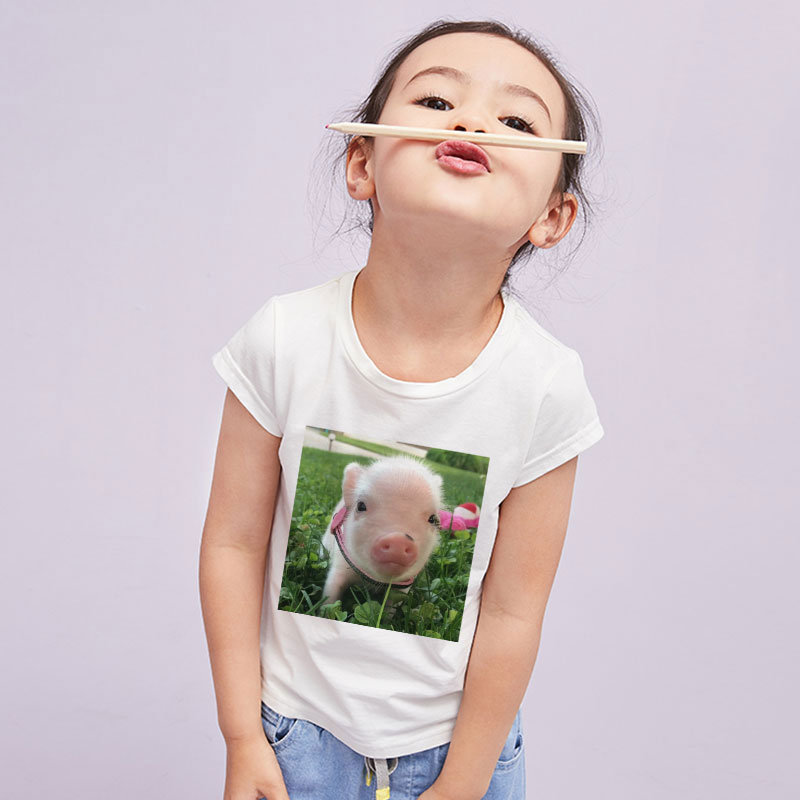 New 2020 Vogue Pig Chicken Printing T-shirt Girl Leisure Kawaii Funny Girls Tops Unisex Boy Tshirt 24M-9T Kids T Shirt Harajuku