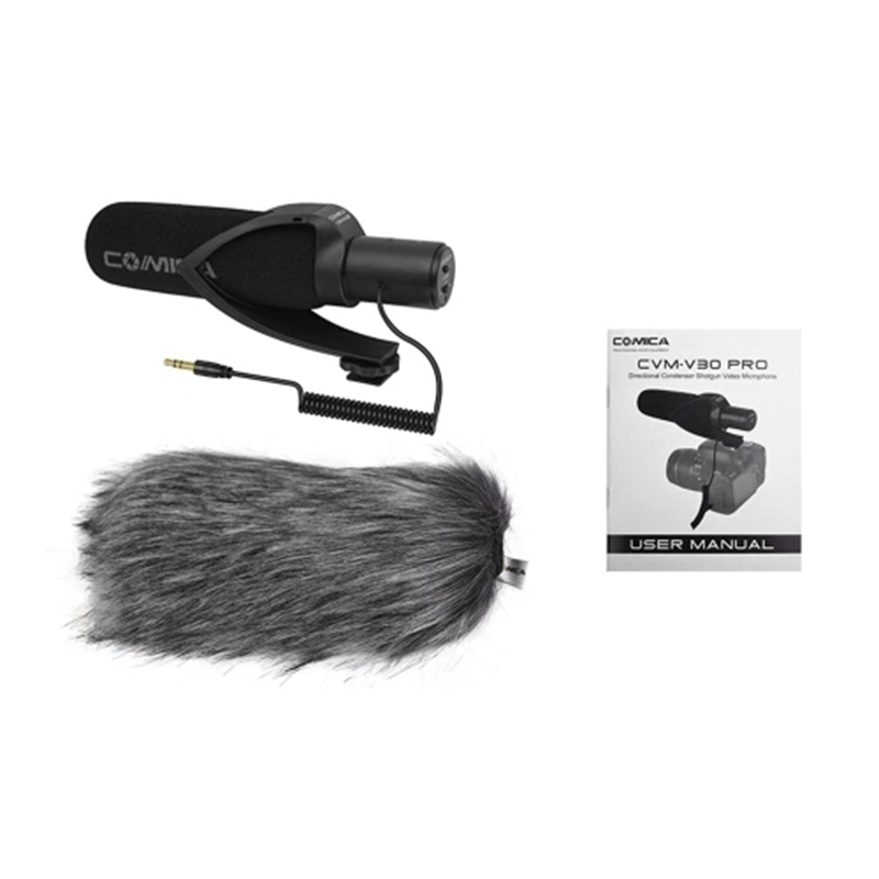 Comica Cvm-V30 Pro Super-Cardioid Directional Condenser Video Microphone With 3.5Mm Interface Professional Shock Mount Universal