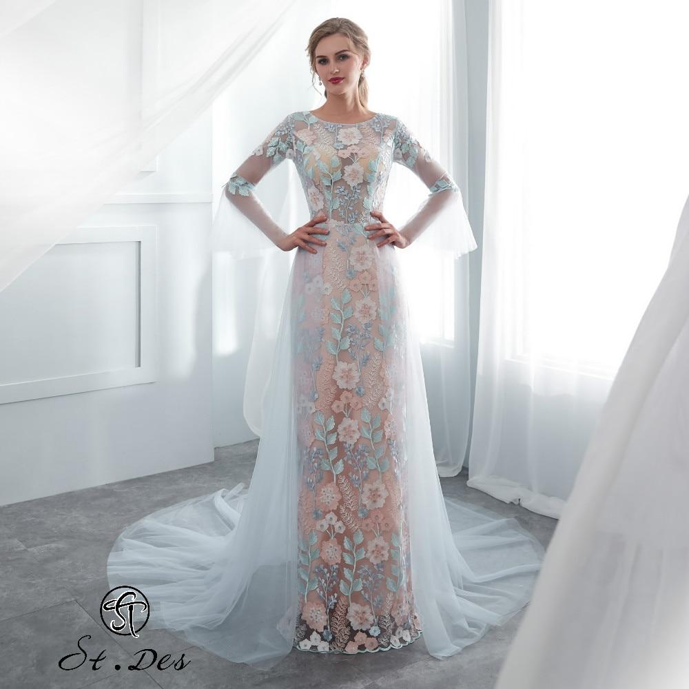 S.T.DES Evening Dress 2020 New Arrival Straight O-neck Sky Blue Long Sleeve Designer Floor Length Party Dress Dinner Dress