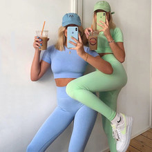 Pantalon de Yoga taille haute sans couture pour femmes, vêtements de Sport, de gymnastique, avec soutien-gorge et T-shirt, ensemble d'entraînement