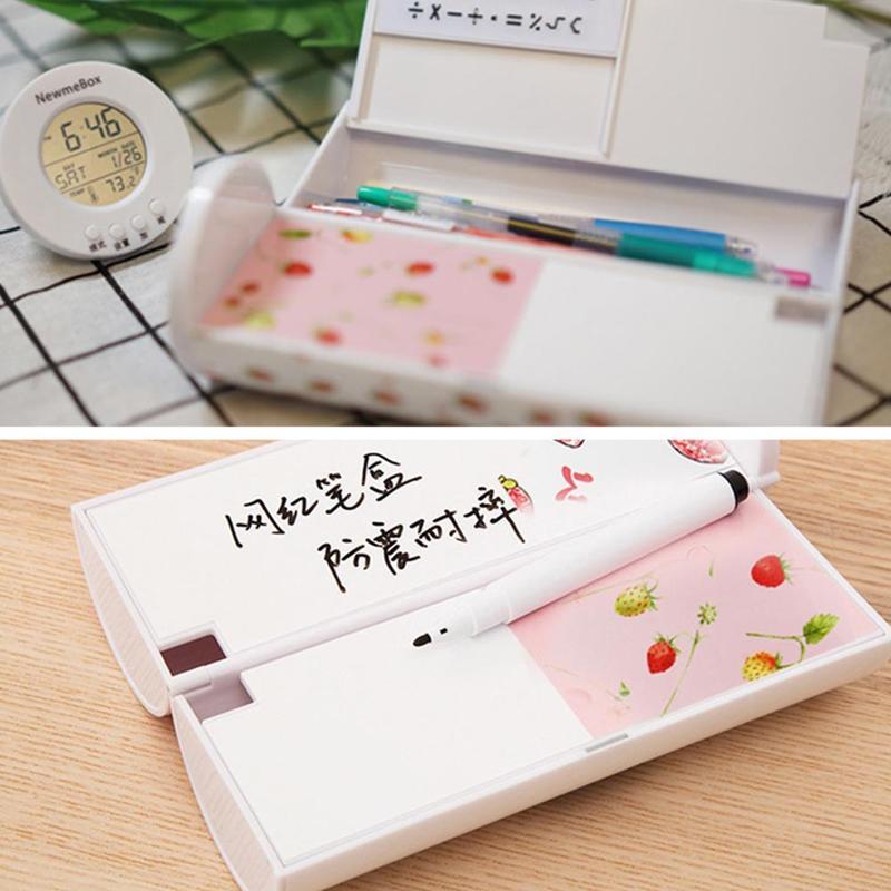 1pcs Multi-function Pencil Case Creative Pencil Box Calculator Pen Mirror Whiteboard Reusable Erasable With Stationery Pen Y2P7